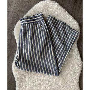 Zac & Rachel Gold & Blue Wide Leg Paperbag Pants
